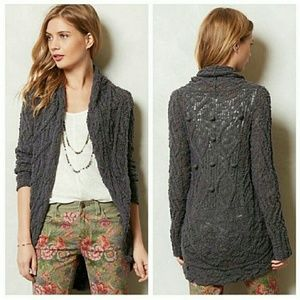 ANTHROPOLOGIE Knitted and Knotted Grey Cardigan